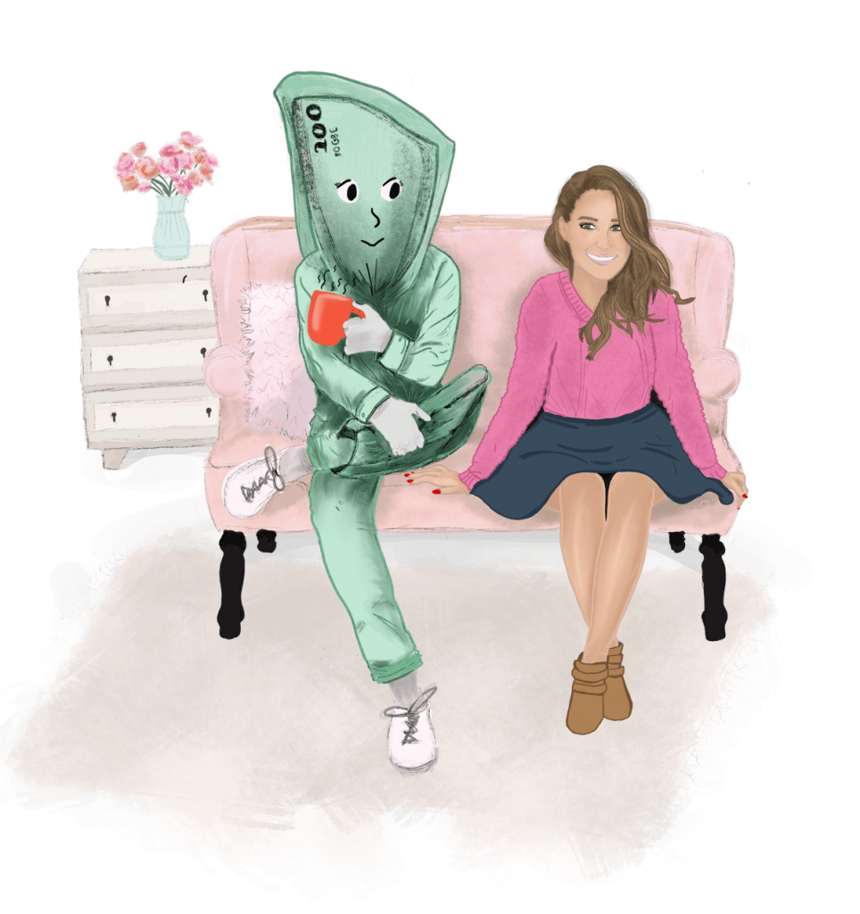 Illustration Money Therapy Quickie Class Girl Sitting with Crossed Legs next to Money Person on a Pink Couch