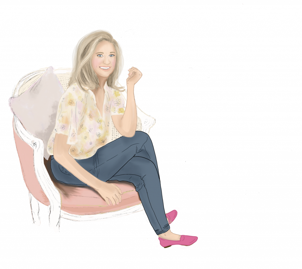 Illustration of Nicole Iacovoni Financial Therapist sitting in rattan backed chair with pink shoes